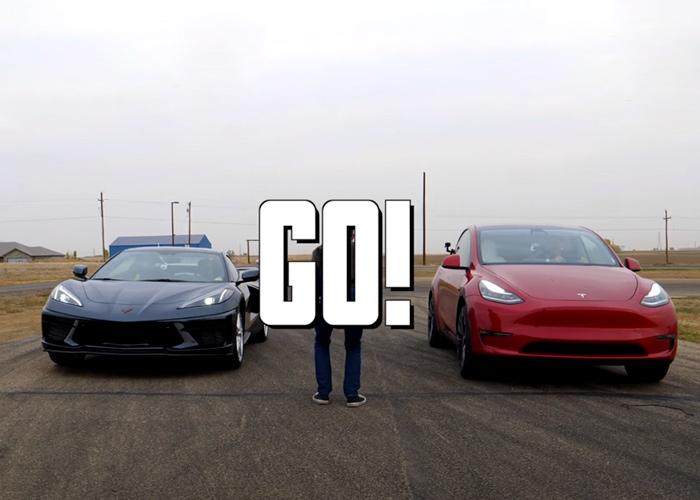 Strange Drag Race of Tesla Model Y and Chevrolet Corvette C8