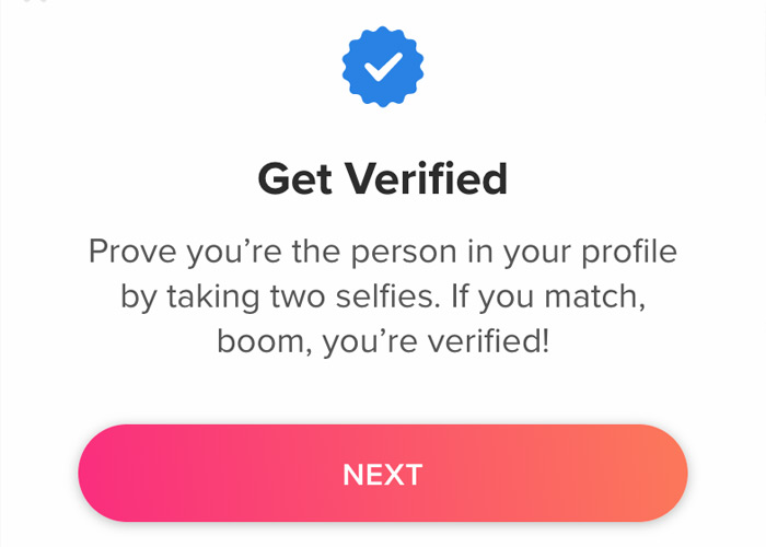 Tinder's Comment about verified blue checkmark